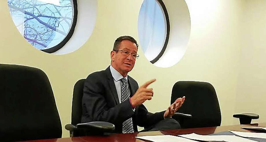 Gov. Dannel P. Malloy makes a point during an editorial board meeting at the Register. Photo: File Photo