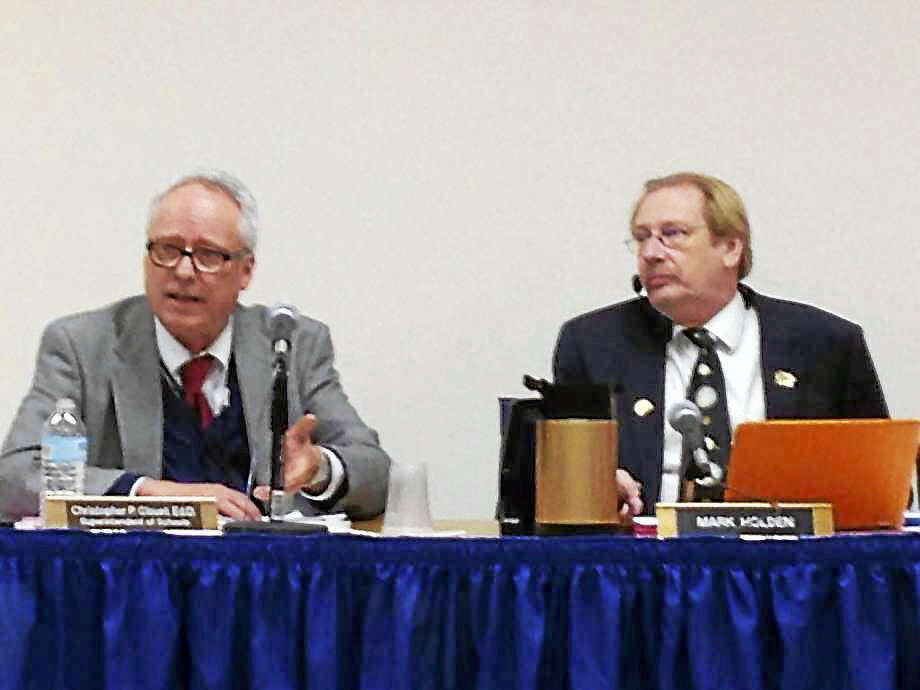 Shelton Schools Superintendent Chris Clouet and Board Chairman Mark Holden Photo: Photo: Linda C. Lambeck / Linda Lambeck
