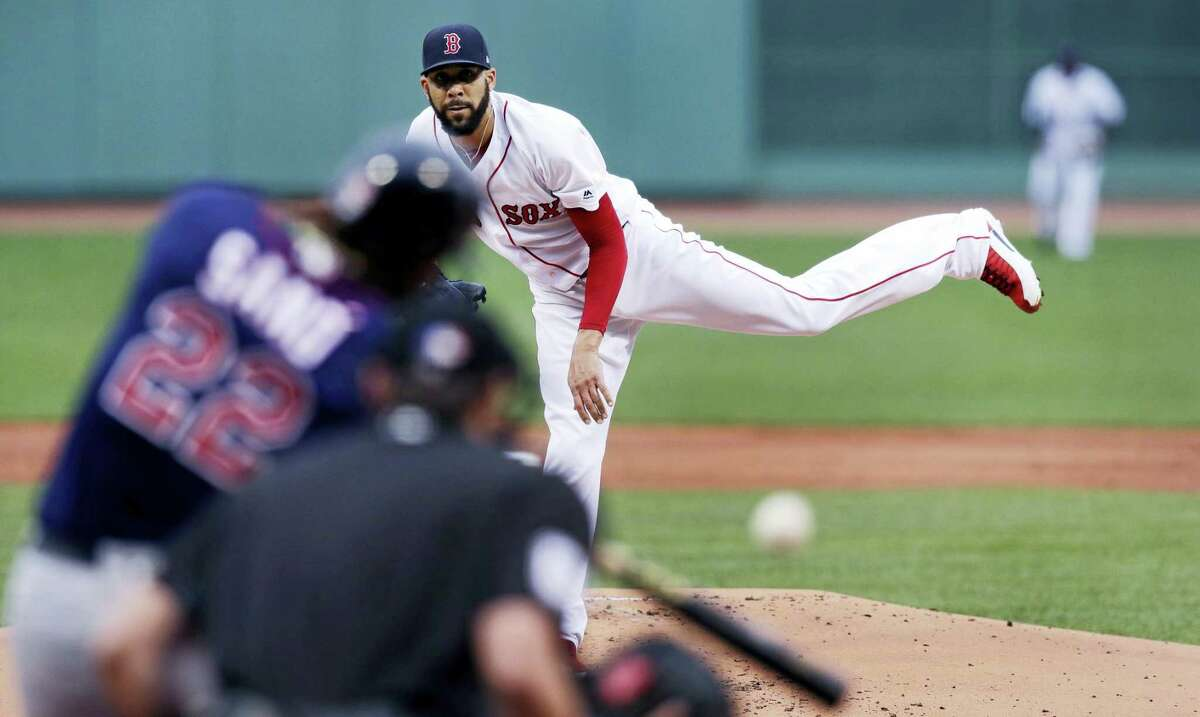 Red Sox starting pitcher David Price delivers in the first inning.