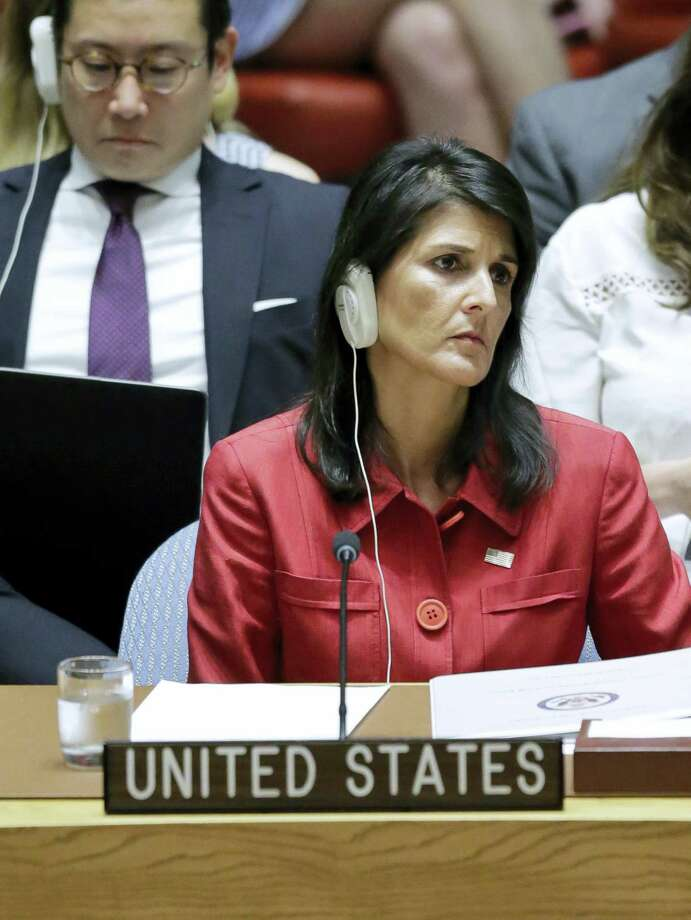 United States U.N. Ambassador Nikki Haley listens during United Nations Security Council meeting on North Korea's latest launch of an intercontinental ballistic missile, Wednesday July 5, 2017 at U.N. headquarters. Photo: Bebeto Matthews / AP Photo   / Copyright 2017 The Associated Press. All rights reserved.