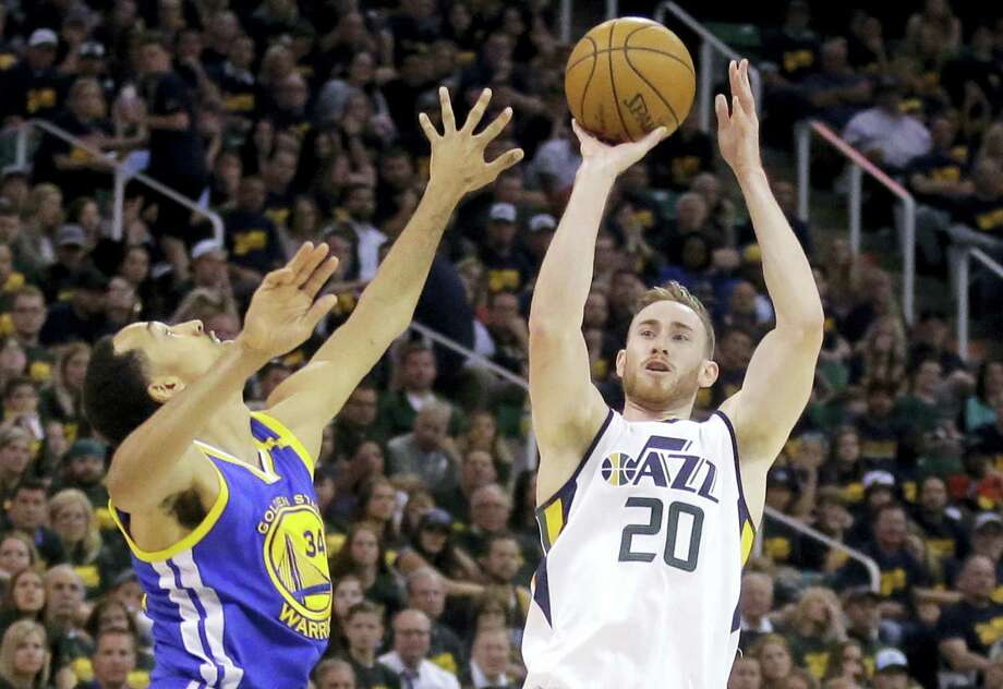 In this May 6 file photo, Utah Jazz forward Gordon Hayward (20) shoots during Game 3 of the NBA basketball second-round playoff series against the Golden State Warriors. Hayward has chosen to sign with the Boston Celtics and reunite with former college coach Brad Stevens, making the announcement Tuesday evening on The Players' Tribune site. Photo: ASSOCIATED PRESS FILE PHOTO   / Copyright 2017 The Associated Press. All rights reserved.