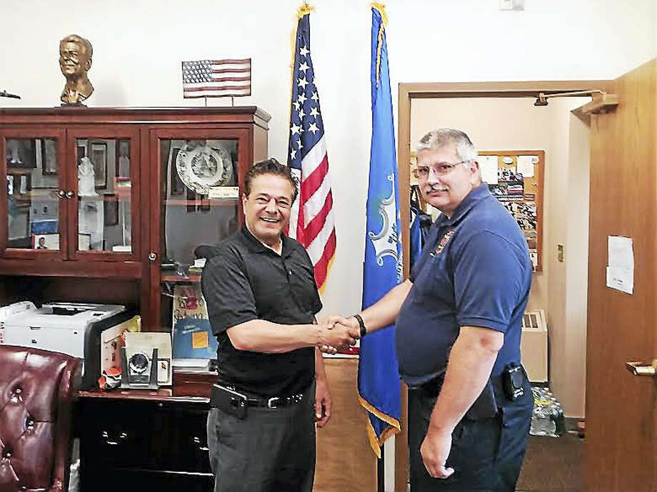 Mayor David Cassetti, left, and Fire Marshal Darrick Lundeen. Photo: Courtesy Of Greg Martin