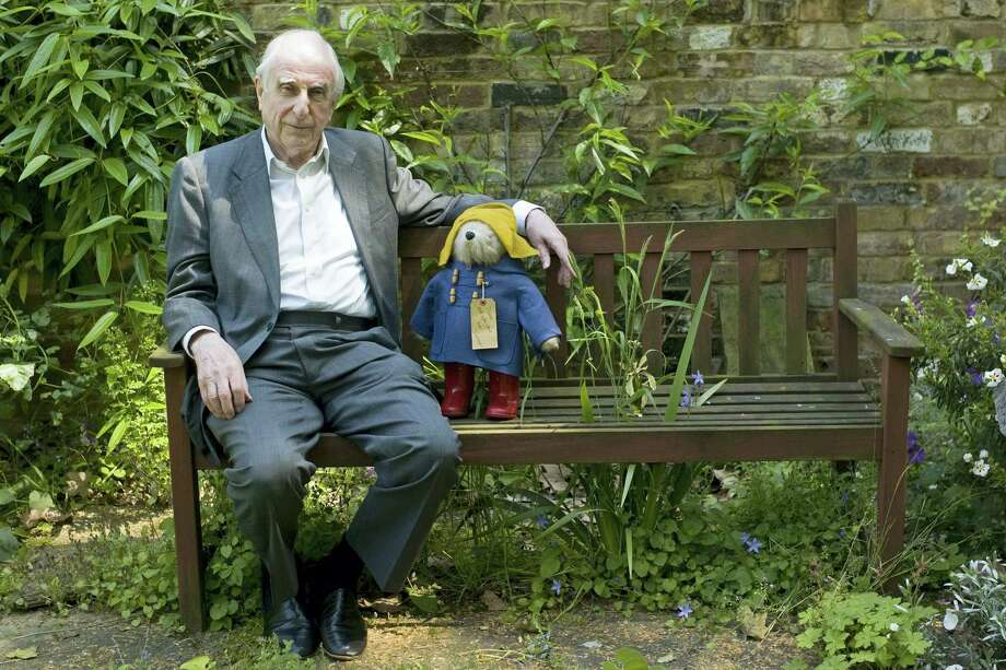 In this Thursday, June 5, 2008 file photo, British author Michael Bond sits with a Paddington Bear toy during an interview with The Associated Press in London. Publisher HarperCollins says Michael Bond, creator of globe-trotting teddy Paddington bear, died on Tuesday June 27, 2017, aged 91. Photo: AP Photo/Sang Tan, File    / AP