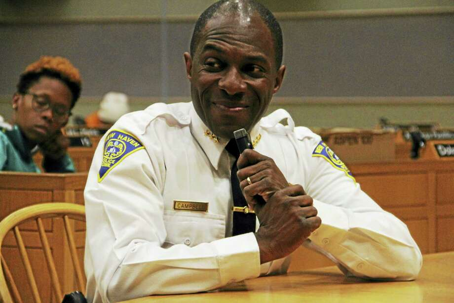New Haven Interim Police Chief Anthony Campbell during a public hearing held by the Aldermanic Affairs Committee Tuesday at City Hall. Photo: Esteban L. Hernandez — New Haven Register