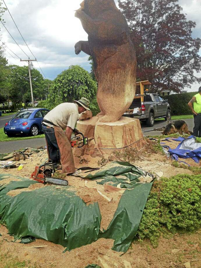 Kris Connors of Clinton sculpted this 10-foot-tall wooden bear out of a red oak tree with a chainsaw. It stands in front of a Cromwell home. Photo: Jeff Mill / Hearst Connecticut Media