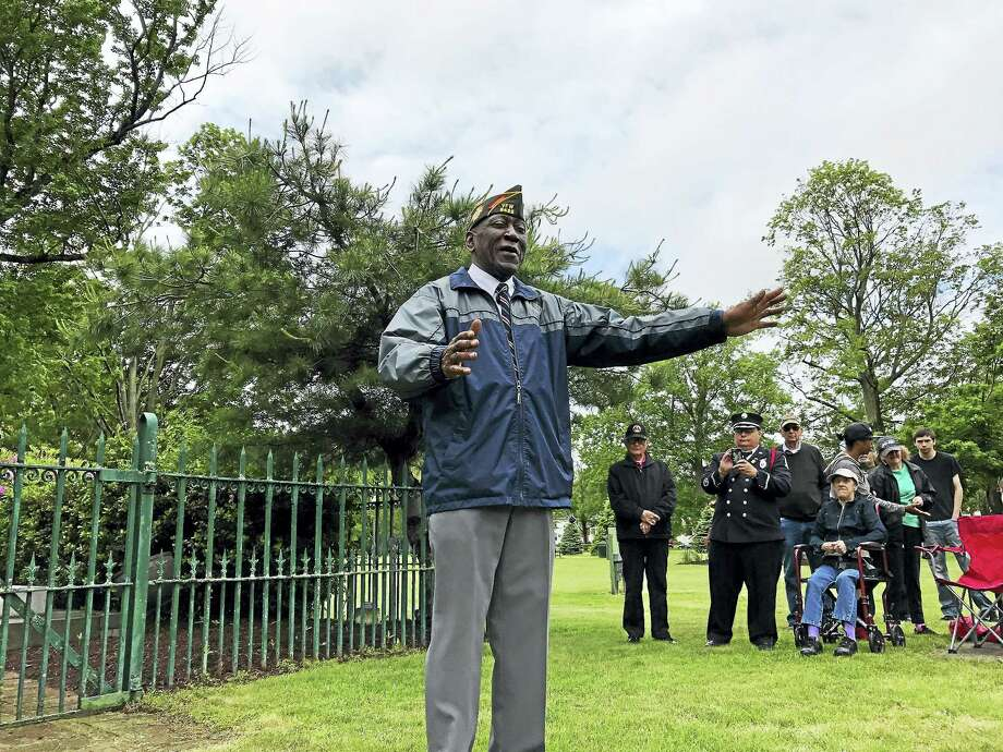 West Haven Memorial Day Parade Grand Marshal and U.S. Army veteran Freddy Jackson speaks during a small ceremony on the Green on Monday, May 29, in West Haven. The city's parade was canceled due to inclement weather. Photo: Esteban L. Hernandez — New Haven Register