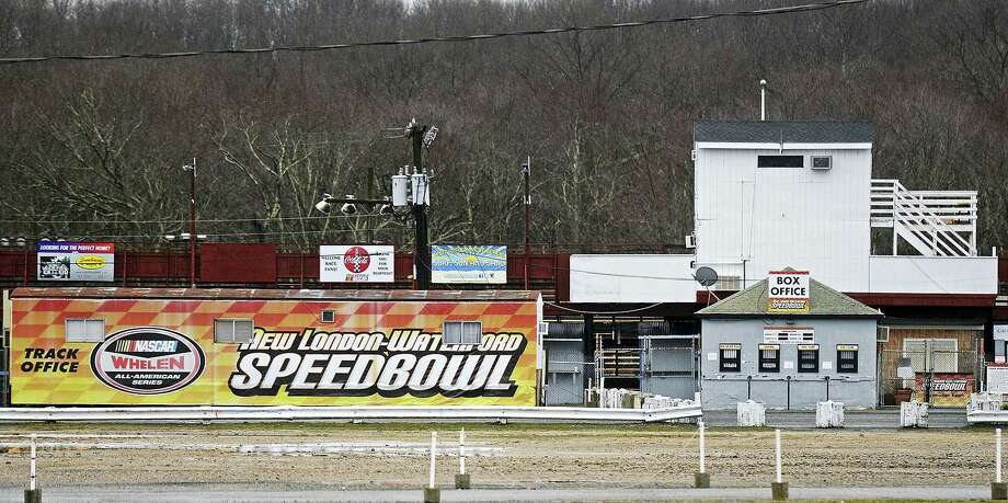 The NASCAR logo is among the signs at the the ticket entrance of the New London Waterford Speedbowl in Waterford. The track, in operation since 1951, postponed its planned May 6 opening after NASCAR pulled its sanctions in April following the arrest of owner Bruce Bemer. Photo: Dana Jensen — The Day Via AP   / THE DAY PUBLISHING COMPANY 2017
