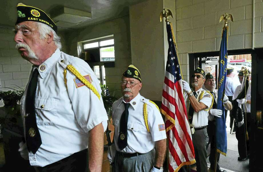 The East Haven Memorial Day ceremony in 2016 at the East Haven Senior Center. Photo: Peter Hvizdak — New Haven Register