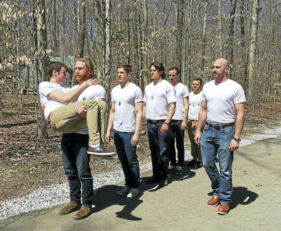 "From left, Zal Owen, Conor Hamill, Ethan Kirschbaum, George Mayer, Alec Silberblatt, Chandler Smith and Mike Mihm in ""Biloxi Blues."" Photo: Photo Courtesy Of Ivoryton Playhouse"