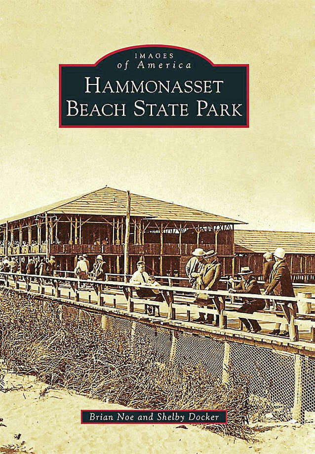 """The cover of the book """"Hammonasset Beach State Park"""" shows people on the boardwalk and in the Grand Pavilion in the 1920s. Photo: Courtesy Of The State Department Of Energy And Environmental Protection)"""