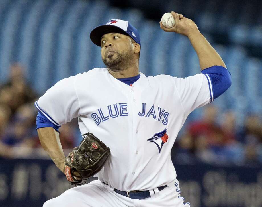 Toronto Blue Jays starting pitcher Francisco Liriano throws against the Boston Red Sox during the first inning of a baseball game Wednesday, April 19, 2017, in Toronto. (Fred Thornhill/The Canadian Press via AP) Photo: The Canadian Press / The Canadian Press