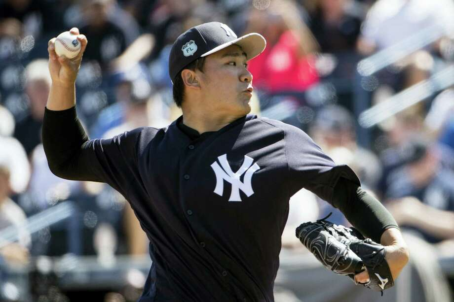 New York Yankees starting pitcher Masahiro Tanaka pitches during the first inning of a spring training baseball game against the Detroit Tigers Tuesday, Feb. 28, 2017, in Tampa, Fla. (AP Photo/Matt Rourke) Photo: AP / Copyright 2017 The Associated Press. All rights reserved.