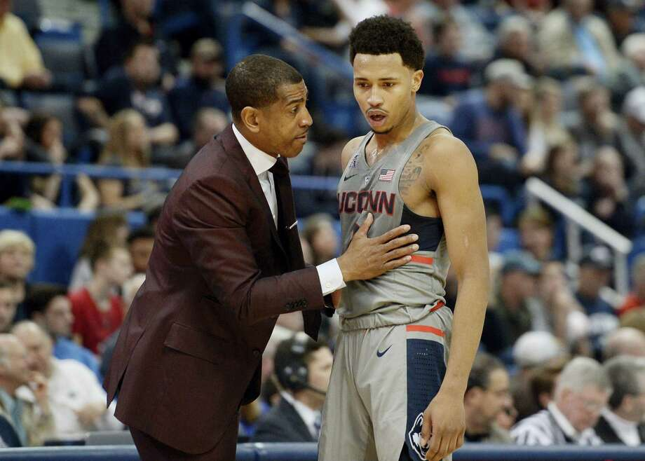According to two NBA scouts, sophomore guard Jalen Adams should spend another year listening to and learning from UConn coach Kevin Ollie. Photo: Jessica Hill — The Associated Press   / AP2017