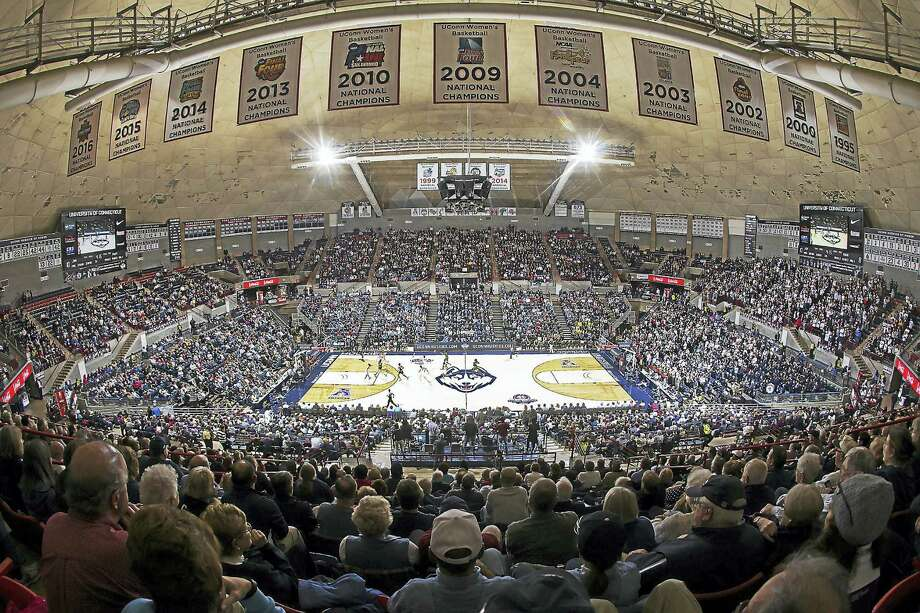 The championship banners hang over Gampel Pavilion. Photo: HBO Photo