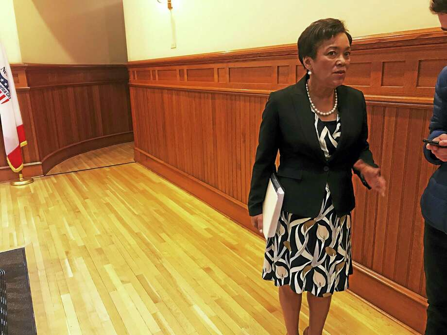 New Haven Mayor Toni Harp on Tuesday after a press conference announcing her proposed 2017-18 budget. The proposed budget includes a reduction in the city's tax rate. Photo: Esteban L. Hernandez — New Haven Register