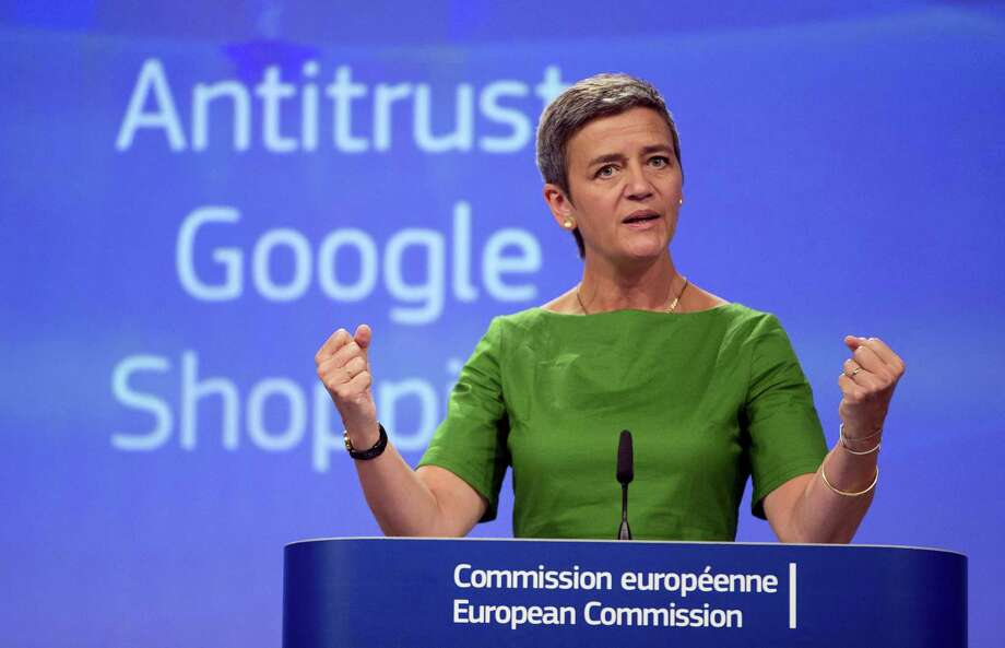 European Union Commissioner for Competition Margrethe Vestager speaks during a media conference at EU headquarters in Brussels on Tuesday, June 27, 2017. The European Union's competition watchdog has fined internet giant Google over its online shopping service. Photo: AP Photo/Virginia Mayo   / Copyright 2017 The Associated Press. All rights reserved.