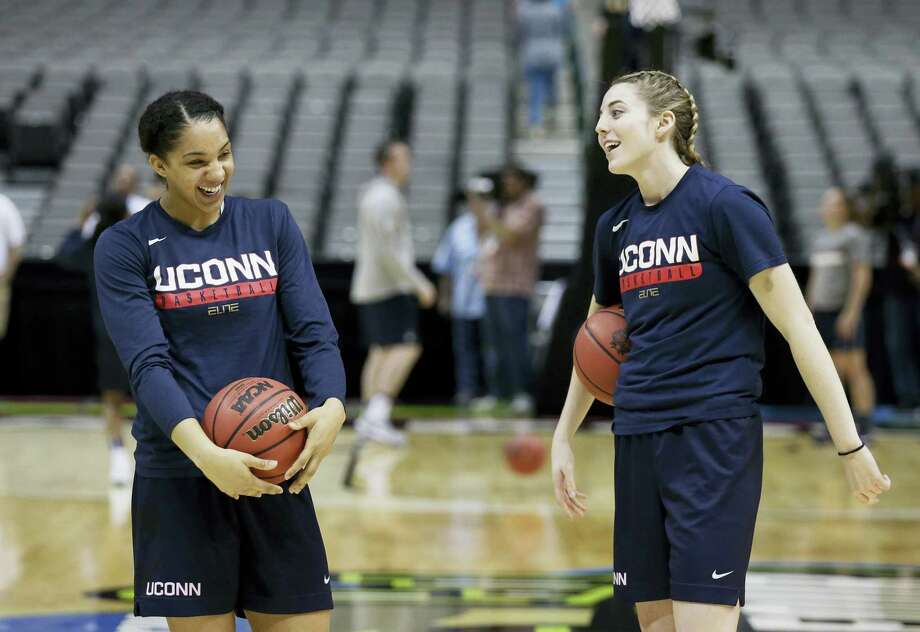 UConn guard Gabby Williams, left, and forward Katie Lou Samuelson, right, take part in a practice session for the women's NCAA Final Four Thursday in Dallas. Photo: LM OTERO — The Associated Press   / Copyright 2017 The Associated Press. All rights reserved.