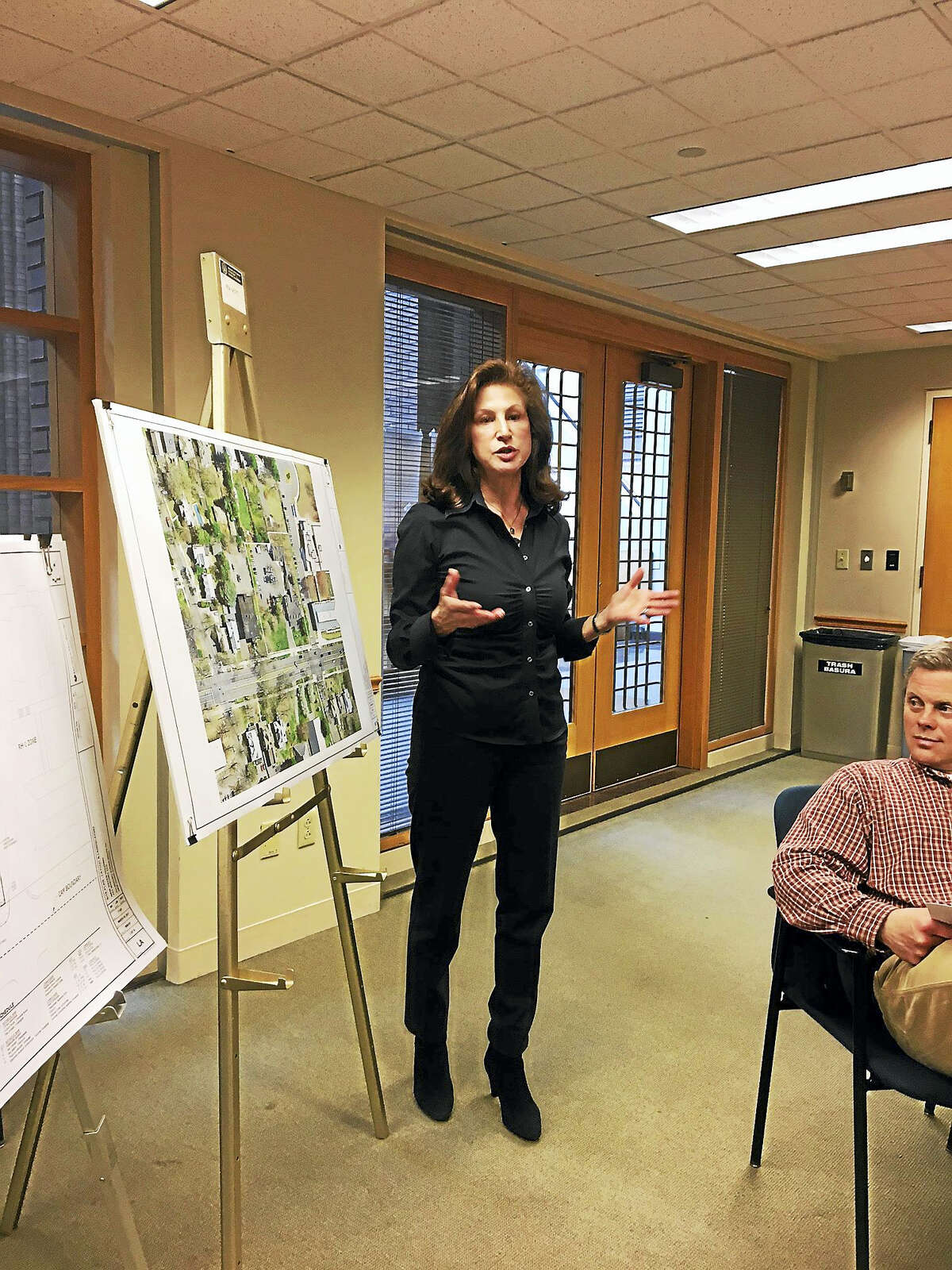 Nancy Greenberg, who owns and is developing 703 Whitney Ave., presents plan to Planning and Zoning Thursday.