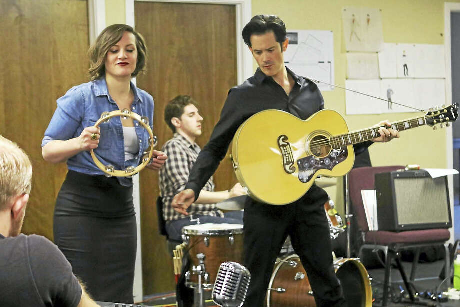Emily Mattheson (Dyanne), Jamie Pittle on drums and John Rochette (Elvis). Photo: Photo Courtesy Of Ivoryton Playhouse