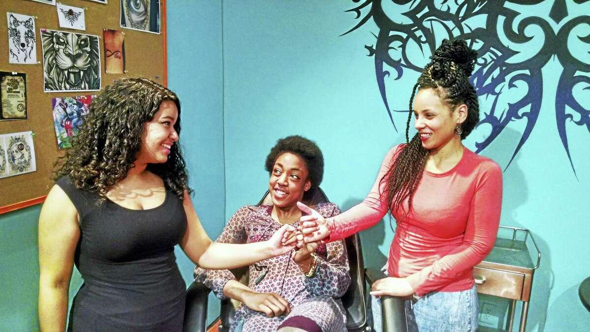 "From left, Betzabeth Castro (Margie), Malia West (Annie) and Sharece Sellem (Talisha) in ""Milk Like Sugar."""