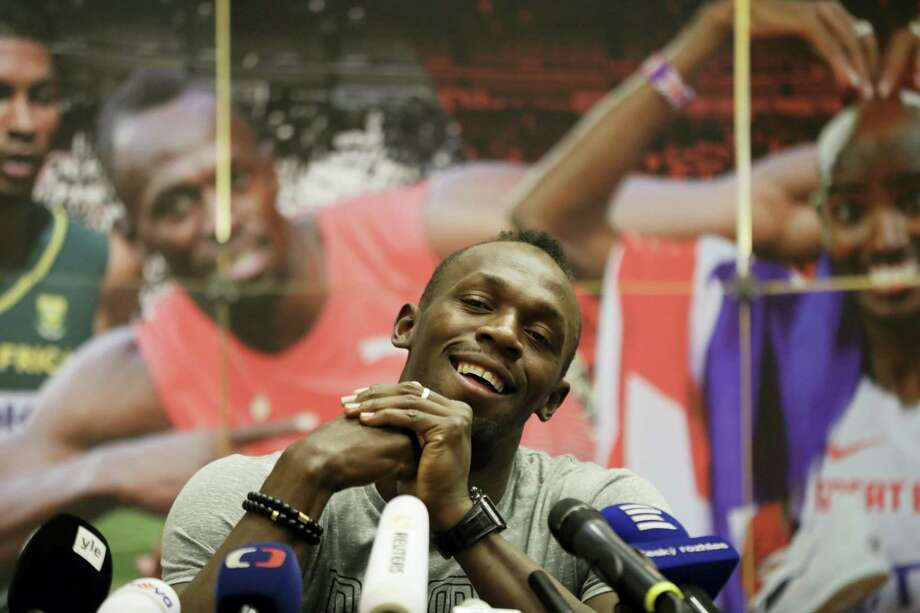 Jamaica's sprinter Usain Bolt smiles during a press conference prior the Golden Spike Athletic meeting in Ostrava, Czech Republic, Monday, June 26, 2017. Bolt will compete in  the 100 meters at the Golden Spike on June 28, 2017. Photo: AP Photo — Petr David Josek   / Copyright 2017 The Associated Press. All rights reserved.