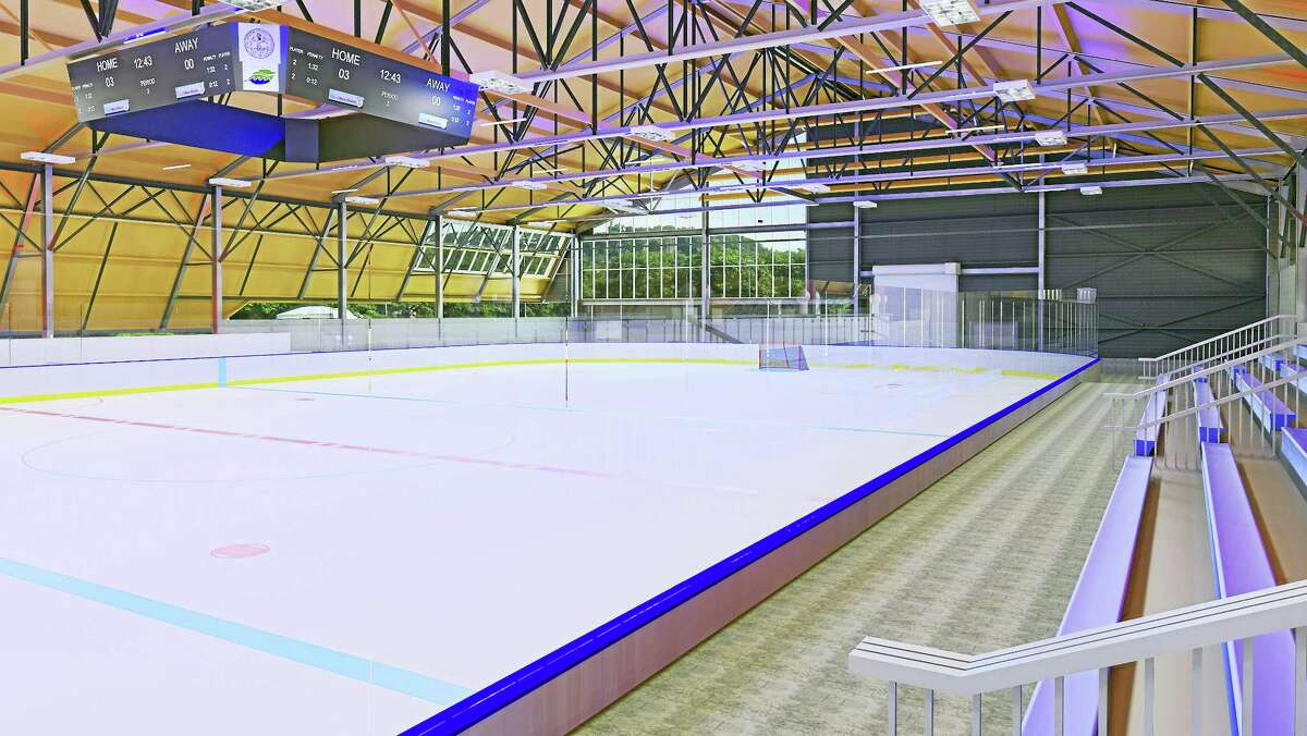 Courtesy of the City of New HavenA sketch of an upgraded Ralph Walker skating rink on State Street in New Haven.