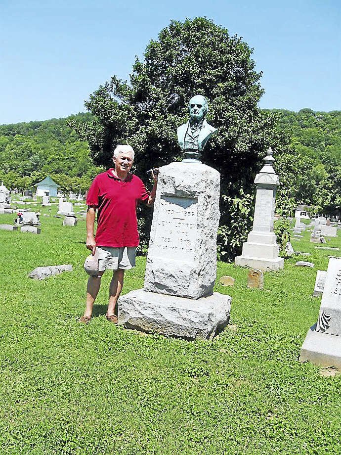 Madison Don Rankin visits the grave of his ancestor, the Rev. John Rankin, who was one of the most active conductors of the Underground Railroad. Photo: CONTRIBUTED PHOTO — Don Rankin