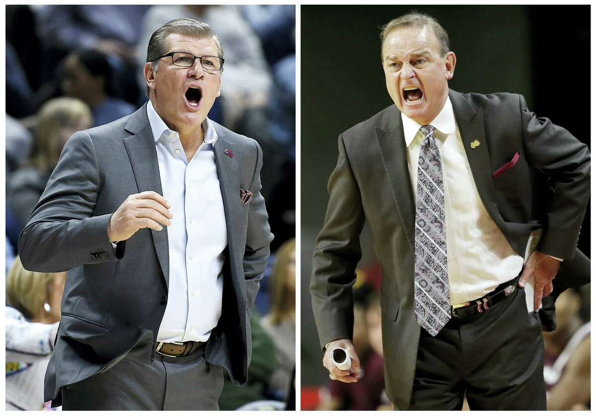 UConn women's basketball head coach Geno Auriemma, left, calls out to his team in this March 18 file photo, in Storrs. Mississippi State head coach Vic Schaefer, right, directs his team in this Dec. 3, 2016, file photo, in Ames, Iowa.