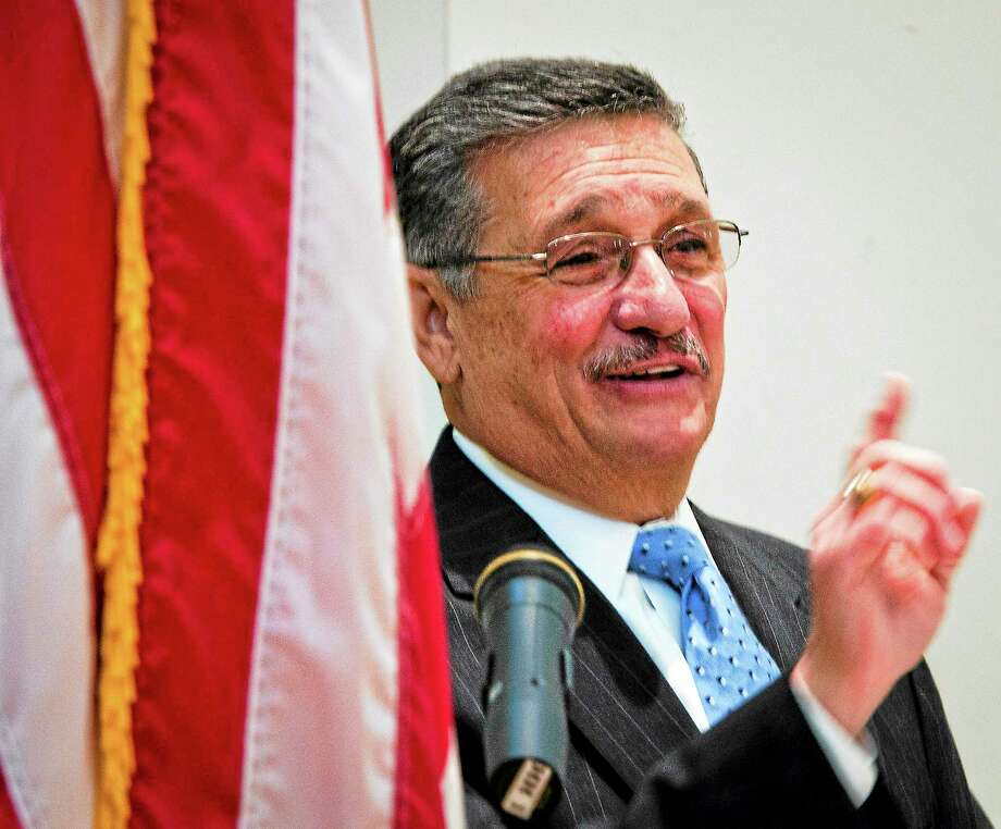 Guilford First Selectman Joseph Mazza speaks at the Guilford Community Center. Photo: New Haven Register File Photo