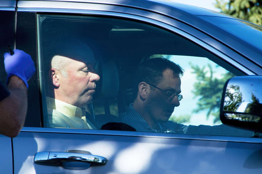 "Republican candidate for Montana's only U.S. House seat, Greg Gianforte, sits in a vehicle near a Discovery Drive building on May 24, 2017 in Bozeman, Mont. A reporter said Gianforte ""body-slammed"" him Wednesday, the day before the special election. Photo: Freddy Monares — Bozeman Daily Chronicle Via AP   / Bozeman Daily Chronicle"