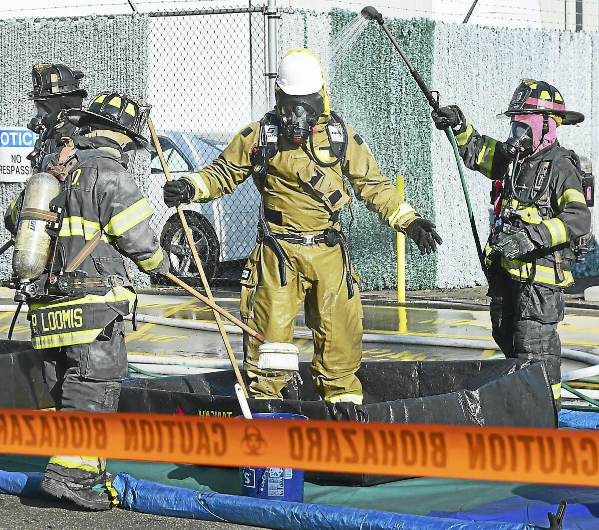 A case of chemical irritant ruptured as an explosion rocked the area around 73 Welton St. and State Street in the East Rock Neighborhood in New Haven at the New Haven Chlor-Alkali LLC, formerly the H. Krevit Co. Dec. 22, 2016.,