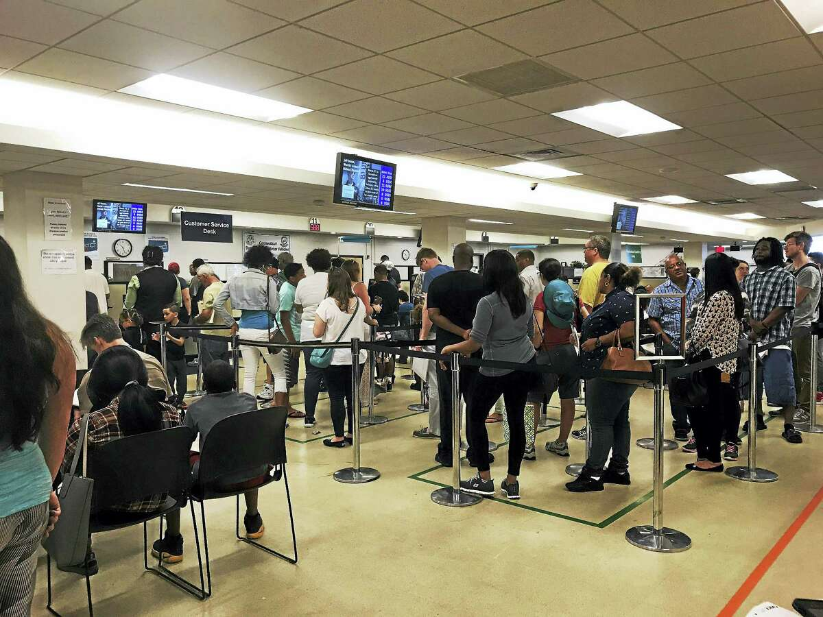 People in line at the DMV in Hamden.