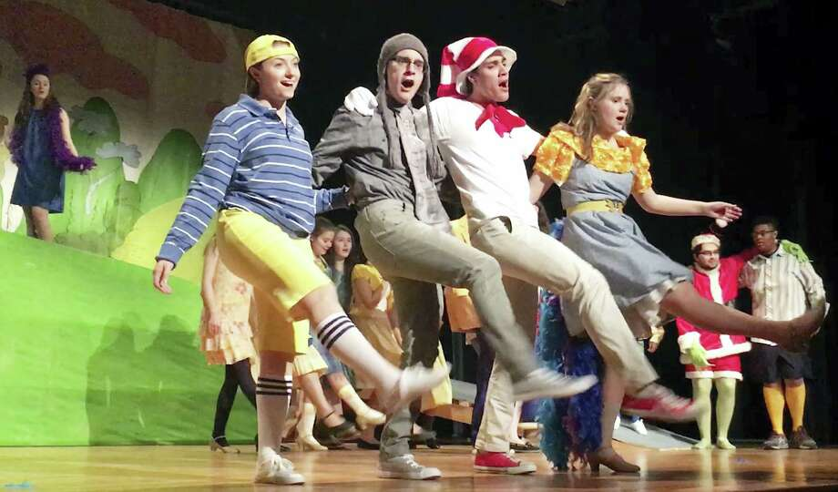 """Joelle Cote, Miguel Corzo, Nathan Matto and Sarah Kulaga will perform in four Notre Dame of West Haven productions of """"Seussical."""" Photo: Notre Dame High School"""