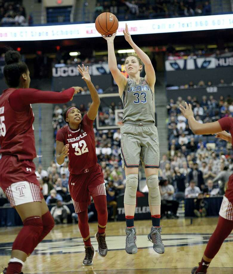 UConn's Katie Lou Samuelson (33) needs eight points to reach 1,000 for her career. Photo: Jessica Hill — The Associated Press File Photo   / AP2017