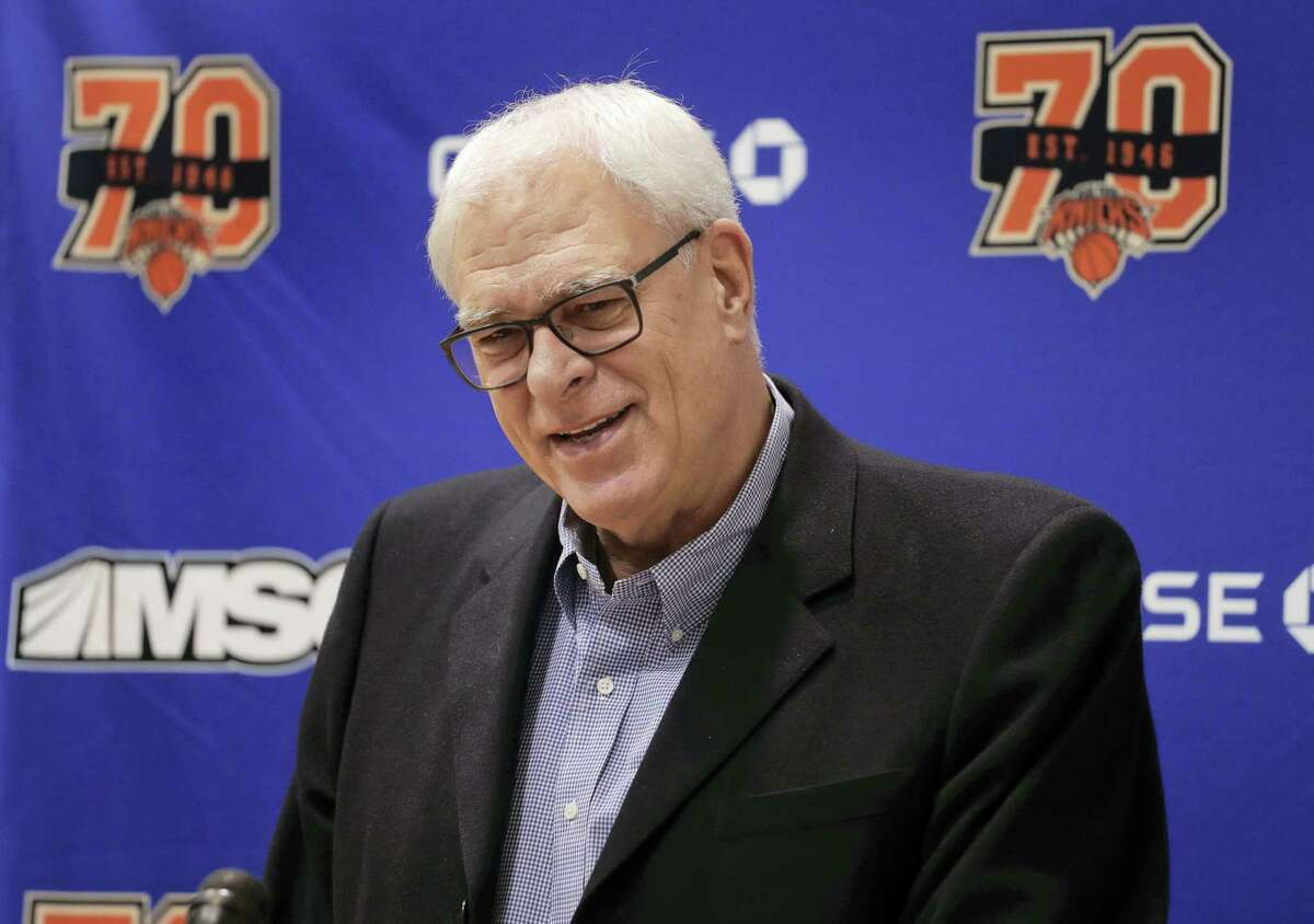 New York Knicks president Phil Jackson answers questions during a news conference at the team's training facility on April 14, 2017 in Greenburgh, N.Y.