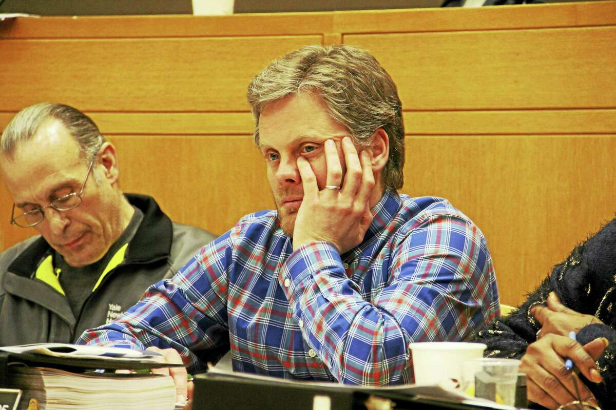 New Haven Alder Adam Marchand, D-25, hearing testimony during Wednesday's Finance Commitee budget workshop hearing.