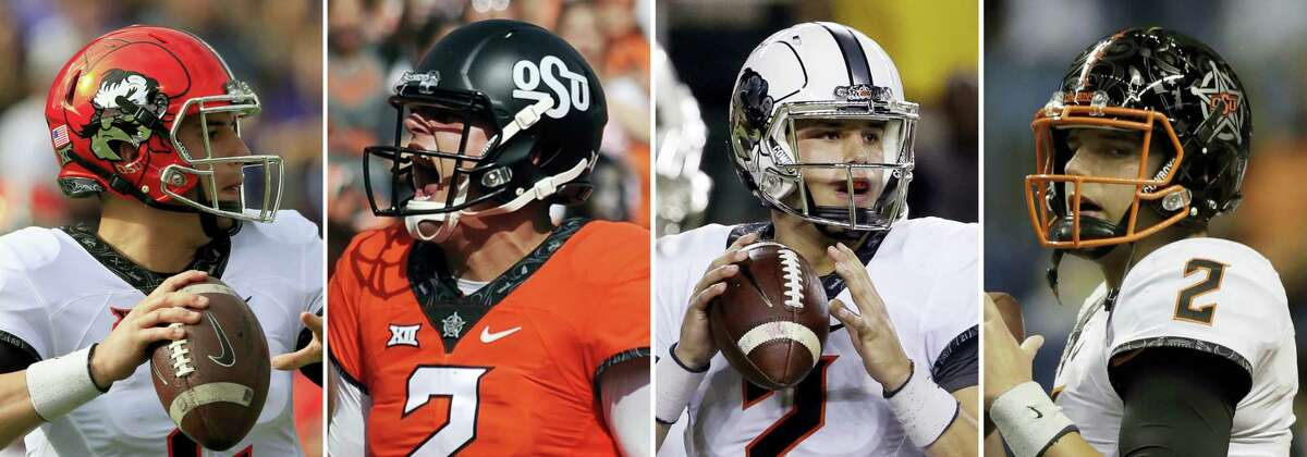 From left, photos show Oklahoma State quarterback Mason Rudolph wearing different helmets during NCAA college football games.