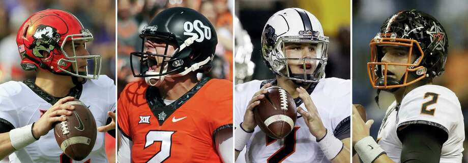 From left, photos show Oklahoma State quarterback Mason Rudolph wearing different helmets during NCAA college football games. Photo: The Associated Press File Photo   / AP