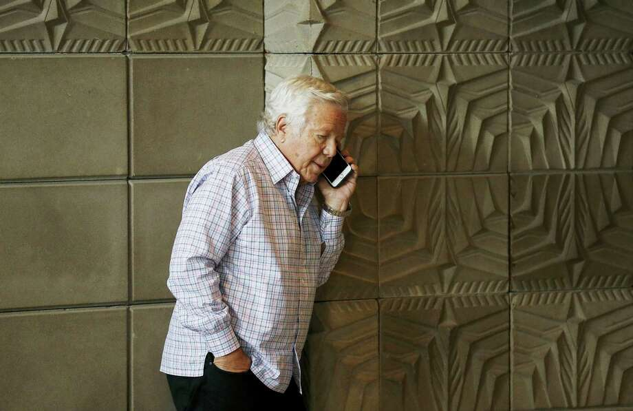 New England Patriots owner Robert Kraft talks on his phone at the NFL football meetings March 27, 2017 in Phoenix. (AP Photo — Ross D. Franklin) Photo: AP / Copyright 2017 The Associated Press. All rights reserved.