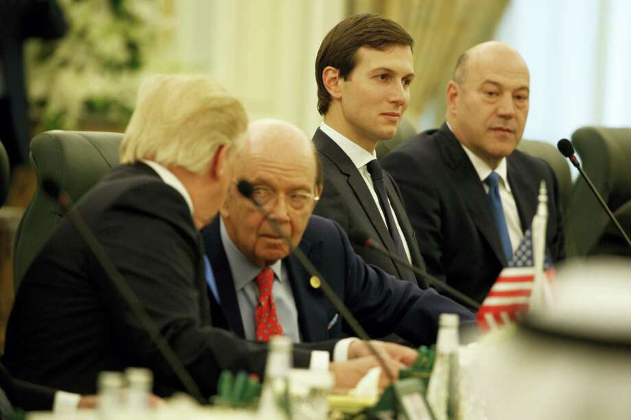 White House senior adviser Jared Kushner, second from right, listens during a meeting between President Donald Trump and Saudi King Salam at the Royal Court Palace, Saturday, May 20, 2017, in Riyadh. From left are, Trump, Commerce Secretary Wilbur Ross, Kushner, and Chief Economic adviser Gary Cohn. Photo: Evan Vucci — AP Photo    / Copyright 2017 The Associated Press. All rights reserved.