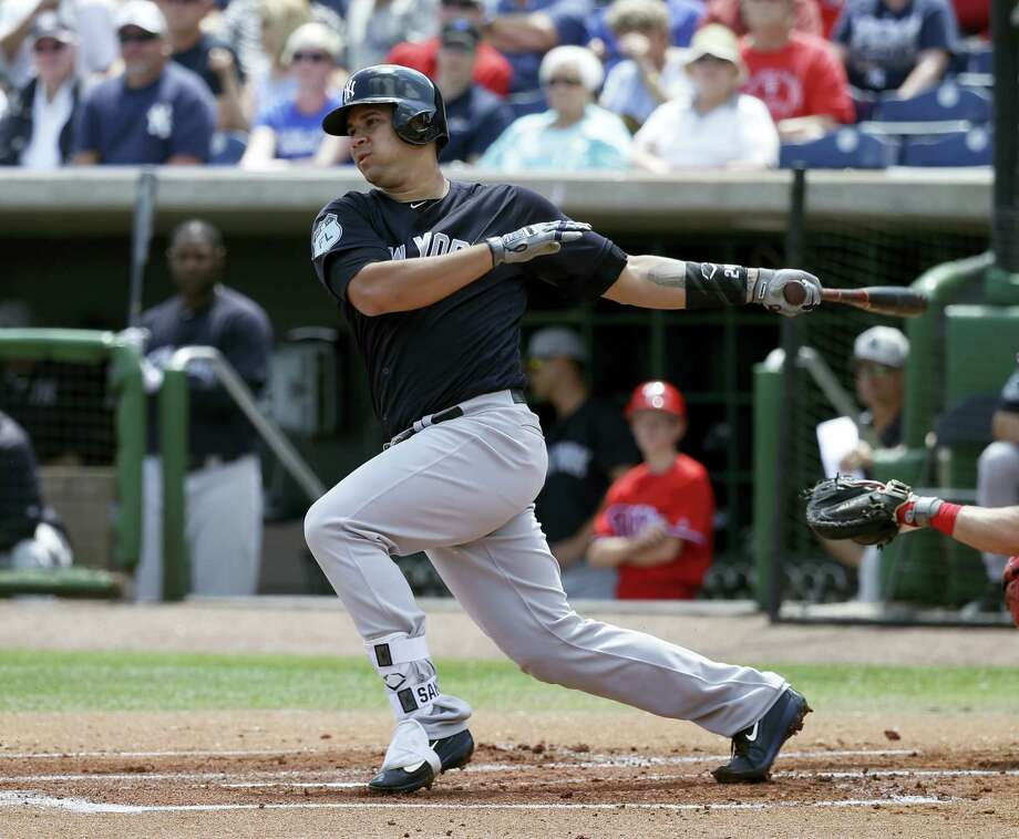 The Yankees' Gary Sanchez bats against the Phillies during a spring training game. Photo: John Raoux — The Associated Press   / Copyright 2017 The Associated Press. All rights reserved.