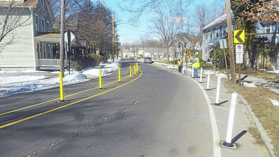 Delineators installed along Valley Street in New Haven last week. Photo: CONTRIBUTED PHOTO