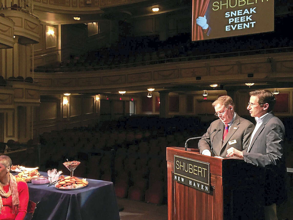 Shubert Theatre officials John Fisher and Anthony Lupinacci preview a season preview video the Shubert stage Tuesday.