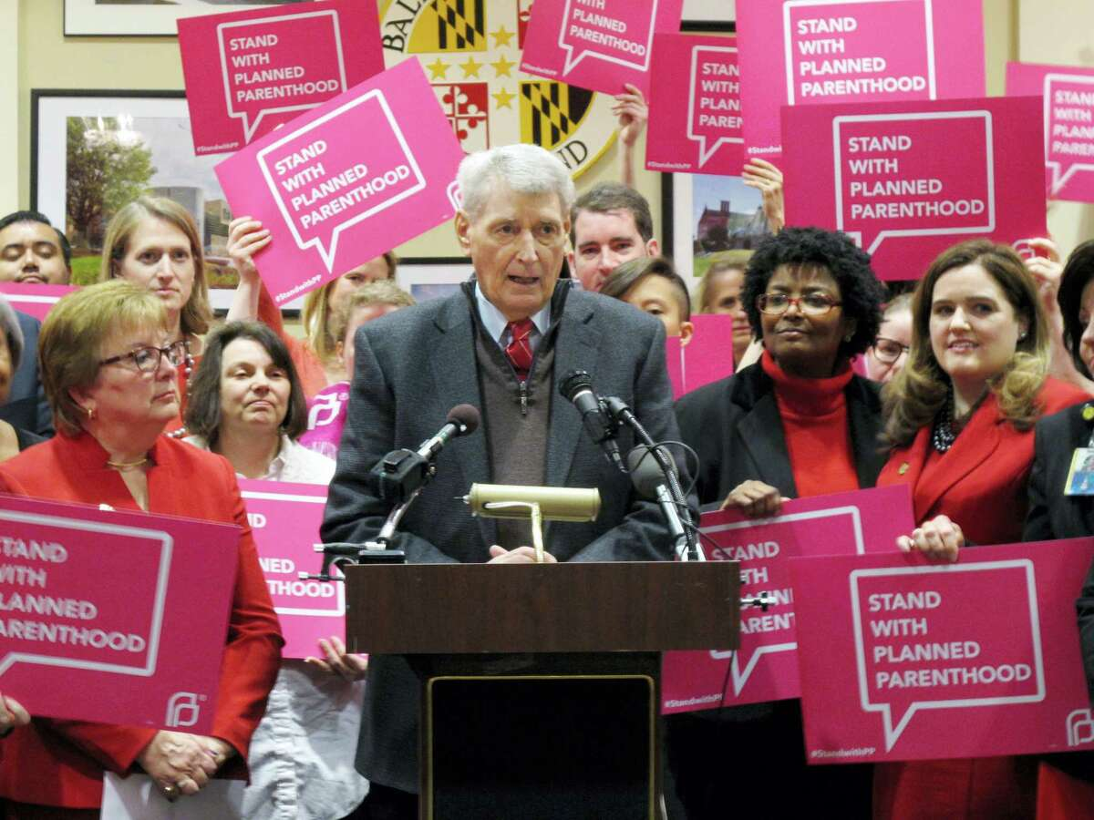 In this March 8, 2017 photo, Maryland House Speaker Michael Busch speaks at a news conference in Annapolis, Md., in support of legislation to continue funding for services provided by Planned Parenthood. Democratic lawmakers in some states including Maryland are pressing ahead with efforts to protect birth control access, Planned Parenthood funding and abortion coverage in case they are jeopardized in the future.