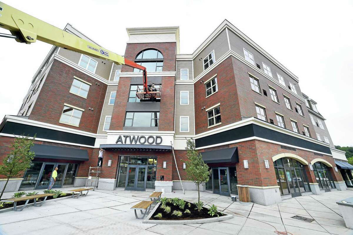 The Atwood, a mixed-use residential and commercial building, on the Boston Post Road in West Haven nears completion.