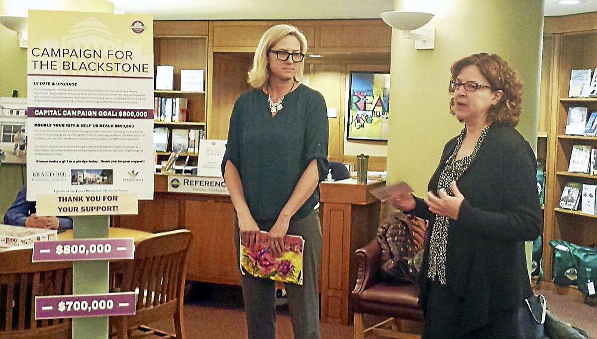 Branford Community Foundation Executive Director Liza Janssen Petra and James Blackstone Memorial Library Director Karen Jensen.