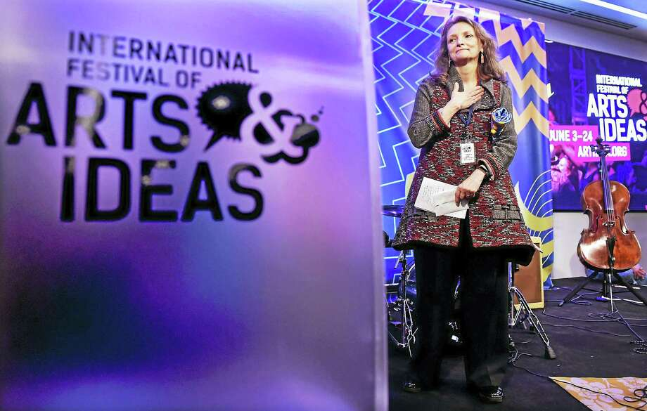 Mary Lou Aleskie is recognized for her contributions to New Haven as executive director of the International Festival of Arts & Ideas Tuesday, during the announcement of Festival 2017 programming at the Alexion building in New Haven. Photo: Peter Hvizdak — New Haven Register   / ©2017 Peter Hvizdak