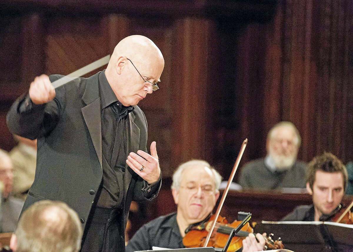 Conductor Jim Sinclair leads Orchestra New England.