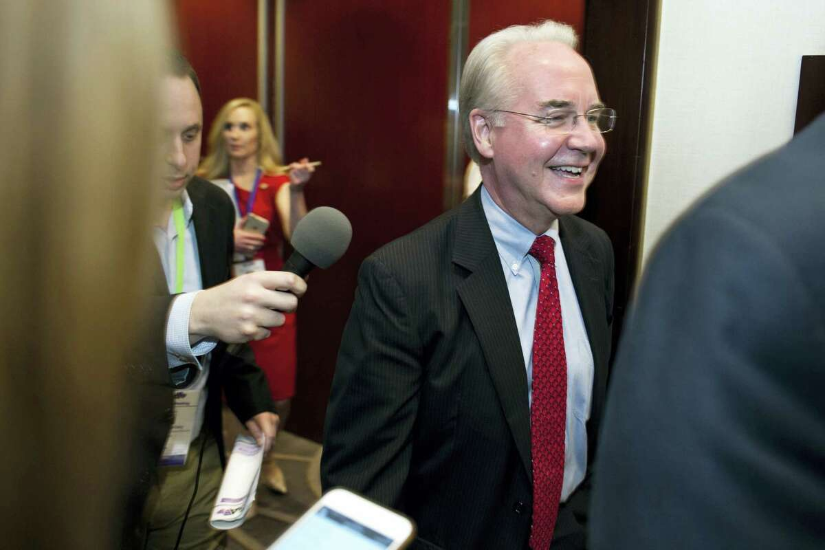 Health and Human Services Secretary Tom Price is followed by reporters as he leaves a health care meeting during the National Governors Association Winter Meeting in Washington on Feb. 25, 2017.