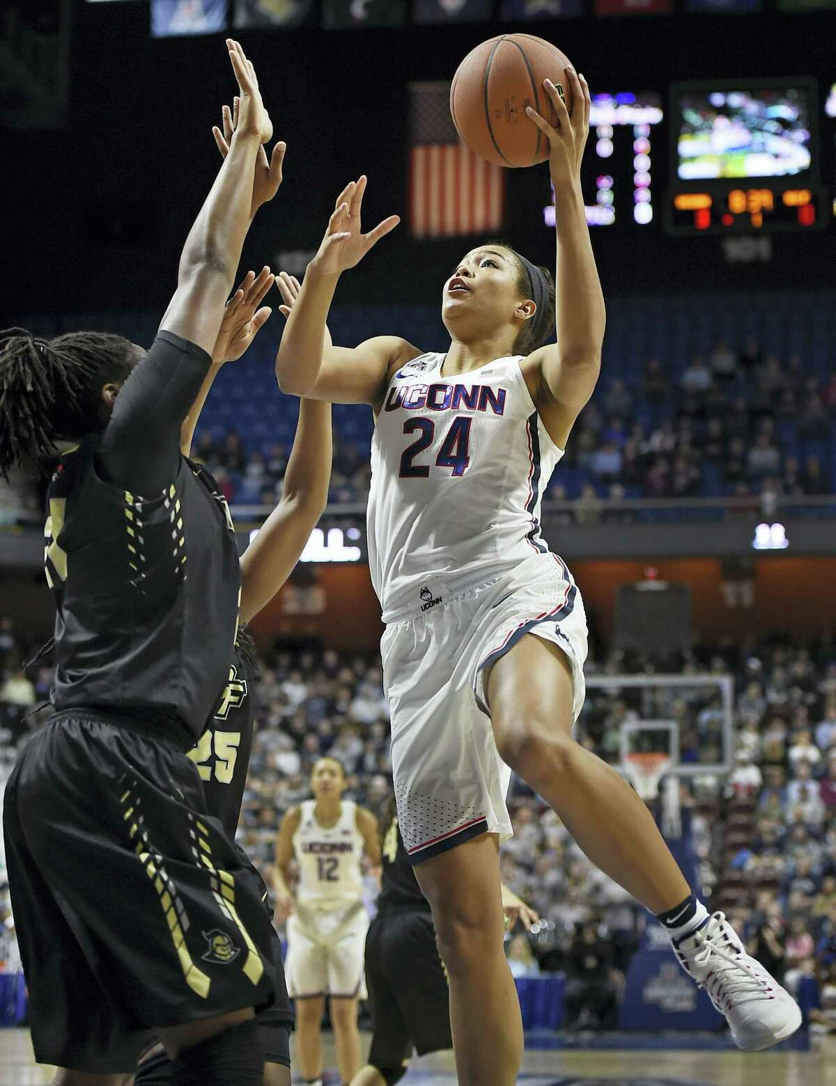 UConn's Napheesa Collier goes up for a shot.